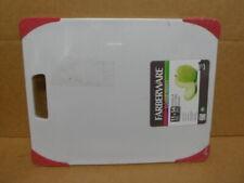 Farberware Nonslip Plastic Cutting Board, 11-Inch-by-14-Inch, White/Red