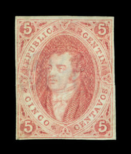 ARGENTINA 1864  RIVADAVIA - clear print -  5c brown rose  Scott # 8  mint MH VF
