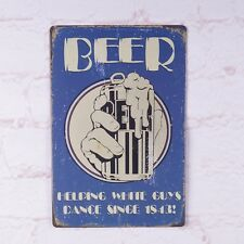 Antique Beer Helping Guys Dance Metal Tin Signs Bar Home Pub Wall Decor