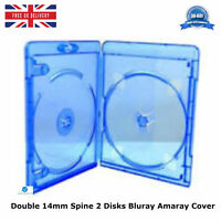 3 x Amaray Bluray Case Double 14mm Spine Face on Face Cover Holds 2 Disks NEW