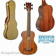 MAHALO MEAB1 BASS UKULELE ELECTRIC/ACOUSTIC W/ AQUILA STRINGS & HARD CASE