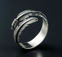 Unisex Silver Feather Open Ring Ancient Vintage Style Adjustable size-UK Seller