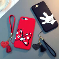 For iPhone XS Max XR 7 8 Plus Mickey Minnie Soft Silicone Case Cover & Bracelet