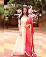Indian Designer White Gown Anarkali Wedding Salwar Kameez Ethnic Suit Dress VF