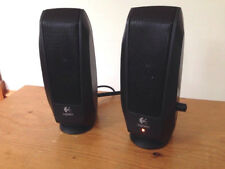 Black Logitech S120 Wired Small Computer Music Multi-Media Speakers WORKS