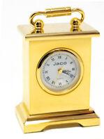 Miniature Table Clock, Full Brass Novelty Clock, Vintage Classic Designs, Handle