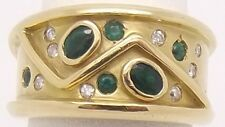 SOLID 18CT YELLOW GOLD NATURAL EMERALD & DIAMOND HEAVY RING SIZE R-VAL $4580.00