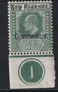 NEW HEBRIDES EDVII SG1, ½d green & pale green, MNH