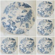 ❀ڿڰۣ❀ PORTMEIRION Set Of Seven BOTANIC BLUE Porcelain SIDE / TEA PLATES ❀ڿڰۣ❀New
