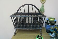 "Vintage Wood Magazine Newspaper Holder Spindled Rack 10"" x 19"" x 19"" H"