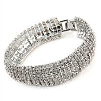 Women Gold Silver Plated 7 Rows Rhinestone Full Crystal Bracelet Bangle Jewelry