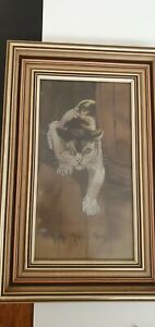 Original Drawing of Cat By E Dyer 1948 Run, Mouse Run Fully Framed