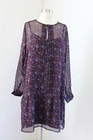NWT Ann Taylor Loft Floral Pleated Flounce Hem Shift Dress Size L Burgundy Blue