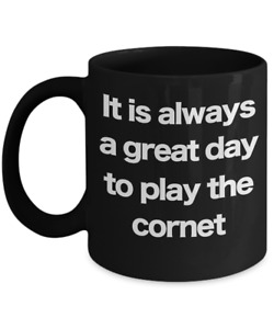 Cornet Mug Black Coffee Cup Funny Gift for Musician Jazz Band Brass Instrument