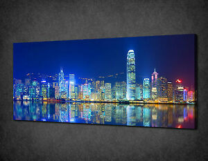 HONG KONG BLUE NIGHT SKYLINE PANORAMIC CANVAS PRINT READY TO HANG