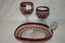 """Wakefield Crystal with Ruby Flash 8"""" Heart Bon-Bon, High Sherbet and Low Sherbet"""