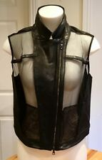 * OHNE TITEL * Women's LEATHER Mesh Combo Gilet Motorcycle Vest Black US 6 UK 10