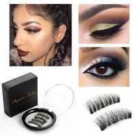 Triple Magnetic Eyelashes 4Pcs/set Reusable Full Eye False Eye Lashes Makeup