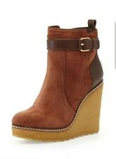 Tory Burch Remy Suede Shearling-Lined Wedge Booties Almond Shoes Size 10, $495