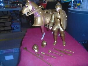 """Vintage 1960's MARX 12"""" Golden Knight & Armored Horse Set & accessories"""