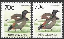 NEW ZEALAND 1988 70c Paradise Shelduck with triple black print & shift, UM.