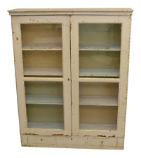 Antique French Hand Painted off white Wall or Standing Bookcase, Cabinet Kitchen