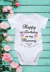 Happy 1st Birthday As My Mummy Personalised Name Cool Baby Girl Boy Bodysuit 210