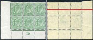 1904 KEVII DLR ½d Control (I9) Block RAISED CROWN IN WATERMARK SG Spec M2b