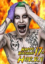 El Joker Jared Leto Personalizada Feliz Cumpleaños suicidio Squad Batman tarjeta de arte