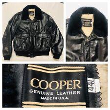 Vintage Mens COOPER Black Leather Aviator G-1 Shearling Bomber Jacket 44L USA