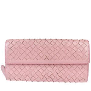 BOTTEGA VENETA Intrecciato Long Bifold Wallet Leather Purple Italy 04MK570