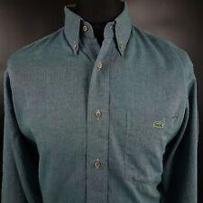 Lacoste Mens THICK Shirt 42 XL Long Sleeve Green Regular Fit  Cotton Wool