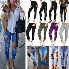 Women Skinny Ripped Knee Denim Jeans Pants Pencil Stretch Leggings Long Trousers