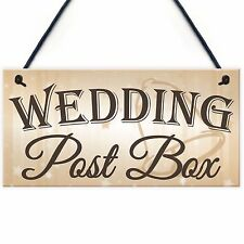 Wedding Post Box Hanging Decorative Plaque Well Wishes Table Presents Cards Sign