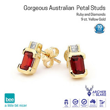 9K Carat Yellow Gold w/ Octagonal Ruby & Diamond Stud Anniversary Love Earrings