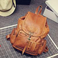 Women Leather Vintage Backpack Shoulder School Travel Bag Satchel Rucksack