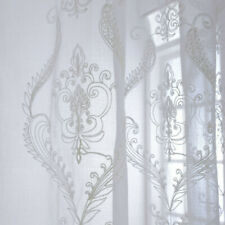 Embroidery Cotton Net Curtains Pelmets Tulle Voile Window Panels Drape Baroque