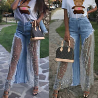 New Women Denim Jeans Destroyed Split Joint Lace Tulle High Waist Pants Trousers