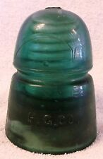 VINTAGE GLASSWARE--H.G. CO.#2--ANTIQUE GLASS INSULATOR--GREEN--VERY CLEAN--MINT!