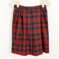Pendleton Wool Plaid Shorts Womens Size 6 Red Green Dry Clean Made in USA