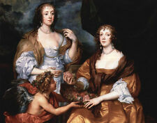 Oil Anthony Dyck Portrait of the ladies Elisabeth Thimbleby Dorothy Hand painted