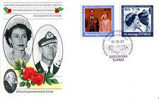 TUVALU NANUMAGA 1987 QUEEN 40th WEDDING ANNIVERSARY $1.50 $1.75 FIRST DAY COVERa