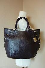 NWT FURLA Espresso/Coffee Ostrich Emb Leather Medium Royal Tote/Satchel Bag $448