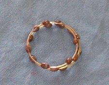 Double brown Hawaiian Job's Tears bracelet with light yellow iridescent beads