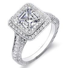 Halo Diamond Engagement 18K Ring D,Si1 Egl 2.81 Ct Asscher Cut w/ Round Cut Dual