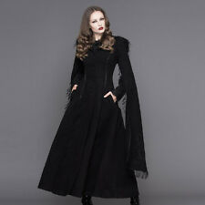 Womens Winter long Coat Black Riding Hood Gothic Lolita with Fur Trim Devil