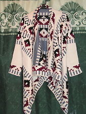 New Ladies Western Aztec Tribal Handkerchief Hem Warm Sweater Cardigan S