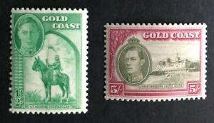 Gold Coast 1938 Predecimal KG VI Definitives 1/2 & 5/- Values M/MUH