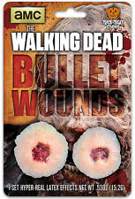 The Walking Dead Licensed Bullet Wounds Appliance  Latex Prosthetic 2 Pk Zombie