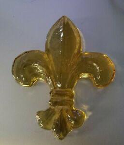 StudioInferno Amber Fleur De Lis Art Glass Paperweight New Orleans